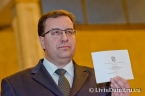 Marian Lupu, acting president of Moldova, casts his vote