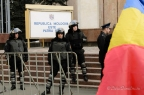 Police outside the Republican Palace in Chisinau, Moldova, on Friday March 16, 2012